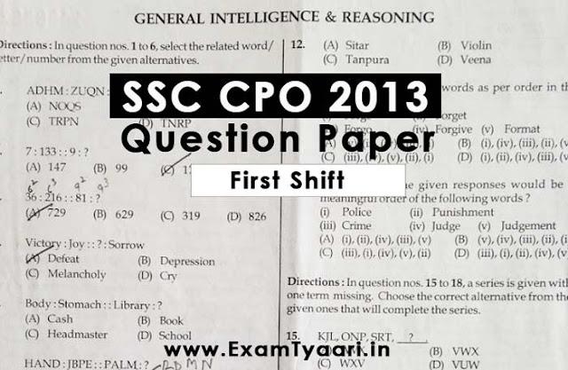 SSC CPO Delhi Police SI 2013 Previous Year Question Paper [PDF Download] - Exam Tyaari
