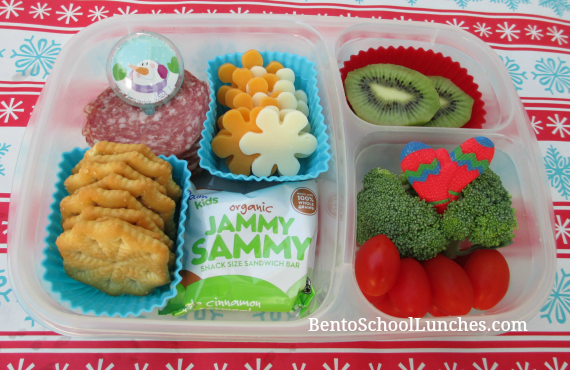 DIY lunchables, winter themed bento school lunch.