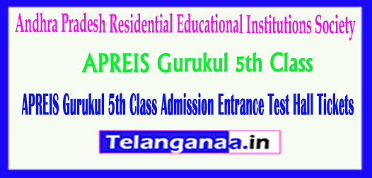APREIS Gurukul 5th Class Andhra Pradesh Residential Educational Institutions Society Admission Entrance Test Hall Tickets