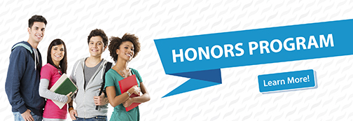 Banner with images of a group of diverse students.  Text: Honors Program.  Learn More