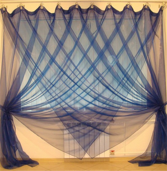 curtain designs for living room: blue modern curtains