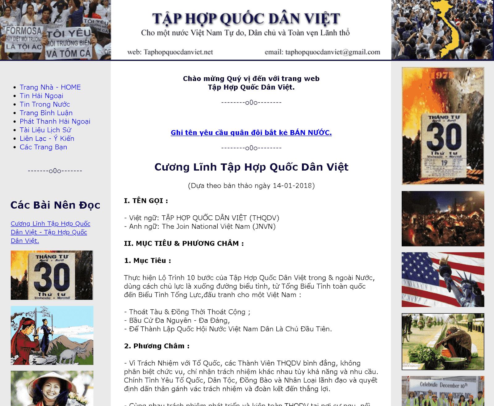 Hình ảnh trang web Tập hợp quốc dân Việt.