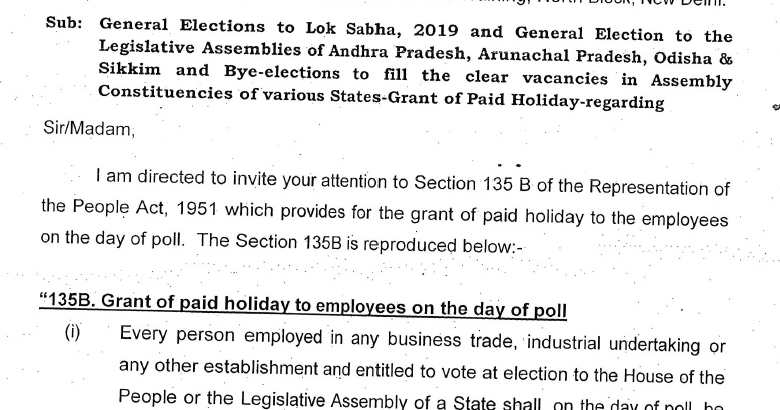 Paid Holiday (Section 135 B) to the employees on the day of