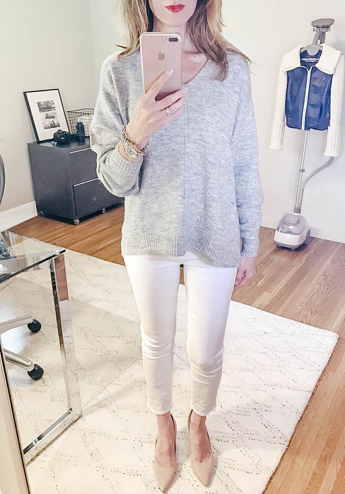 grey sweater white jeans suede pumps david yurman bracelet