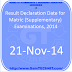 Result Declaration Date for Matric (Supplementary) Examinations, 2014