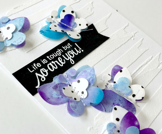 Life is Tough Card by Samantha Mann, Newton's Nook Designs, Altenew, butterflies, stencil, embossing paste, encouragement card