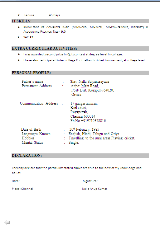 Iti Resume Format Doc Download Best Resume Examples