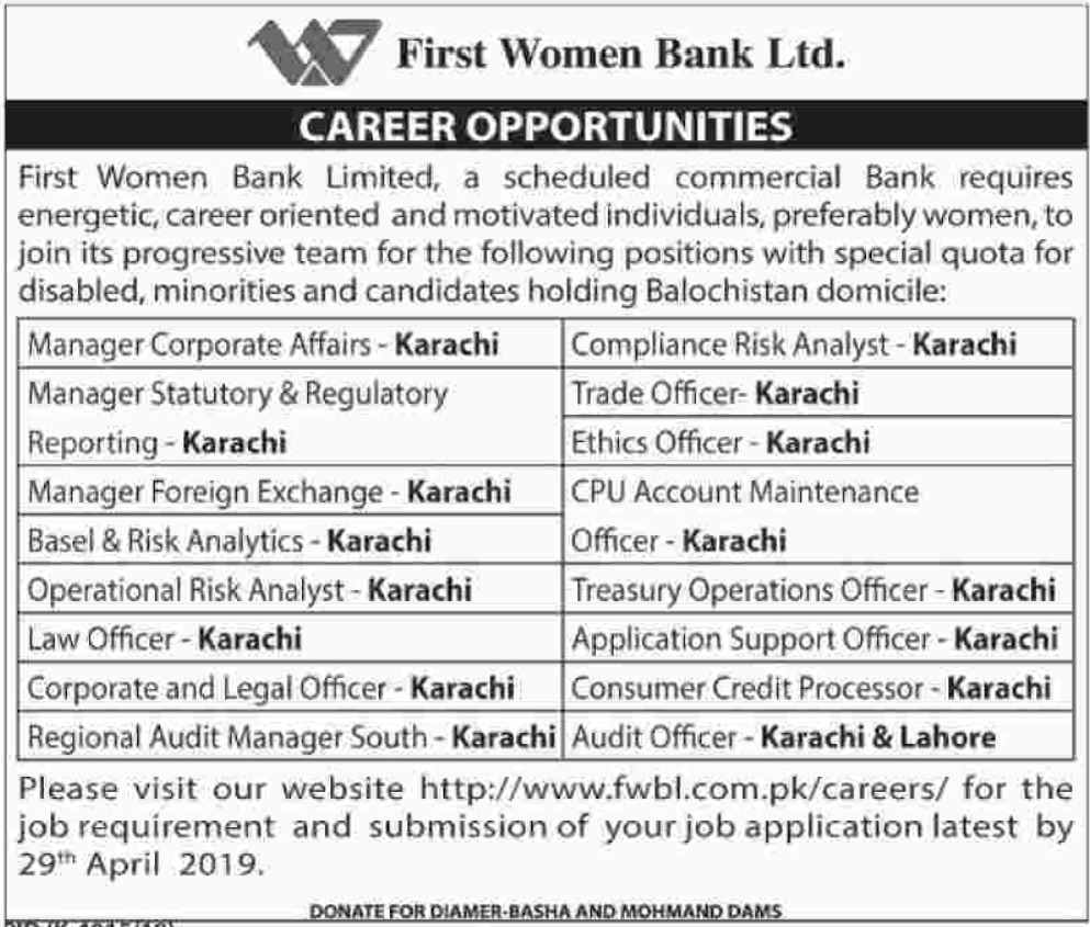 First Women Bank Jobs 2019 | Salary Package Rs. 30,000