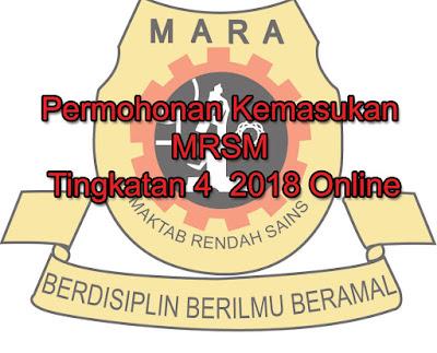 Permohonan Kemasukan MRSM Tingkatan 4  2018 Online
