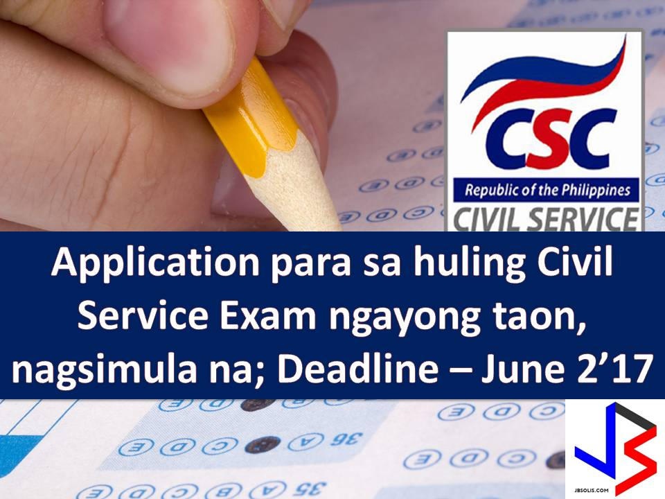 If you want to enter government service, Civil Service Eligibility is important. And every year the Civil Service Commission is conducting an exam to those want to have eligibility.  This time the Civil Service Commission (CSC) reminds interested individuals to file their applications early as acceptance is on a first-come, first served basis.  The Civil Service Commission Regional and Field Offices have started accepting applications for August 6, 2017, Career Service Examination-Pen and Paper Test (CSE-PPT) last Monday. The deadline for submission of application is on June 2.