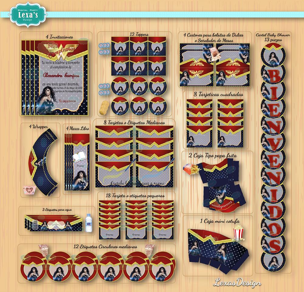 Kit imprimibles para fiestas Mujer Maravilla / Wonder Woman  gratis
