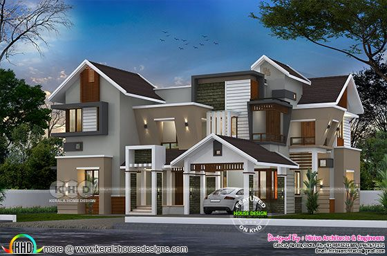 4200 square feet 5 bedroom sloping roof home design