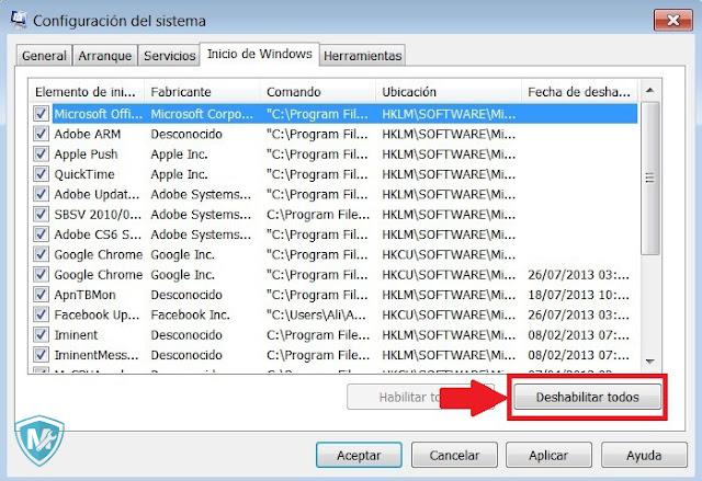 Mantenimiento PC Configuración del sistema simbolo