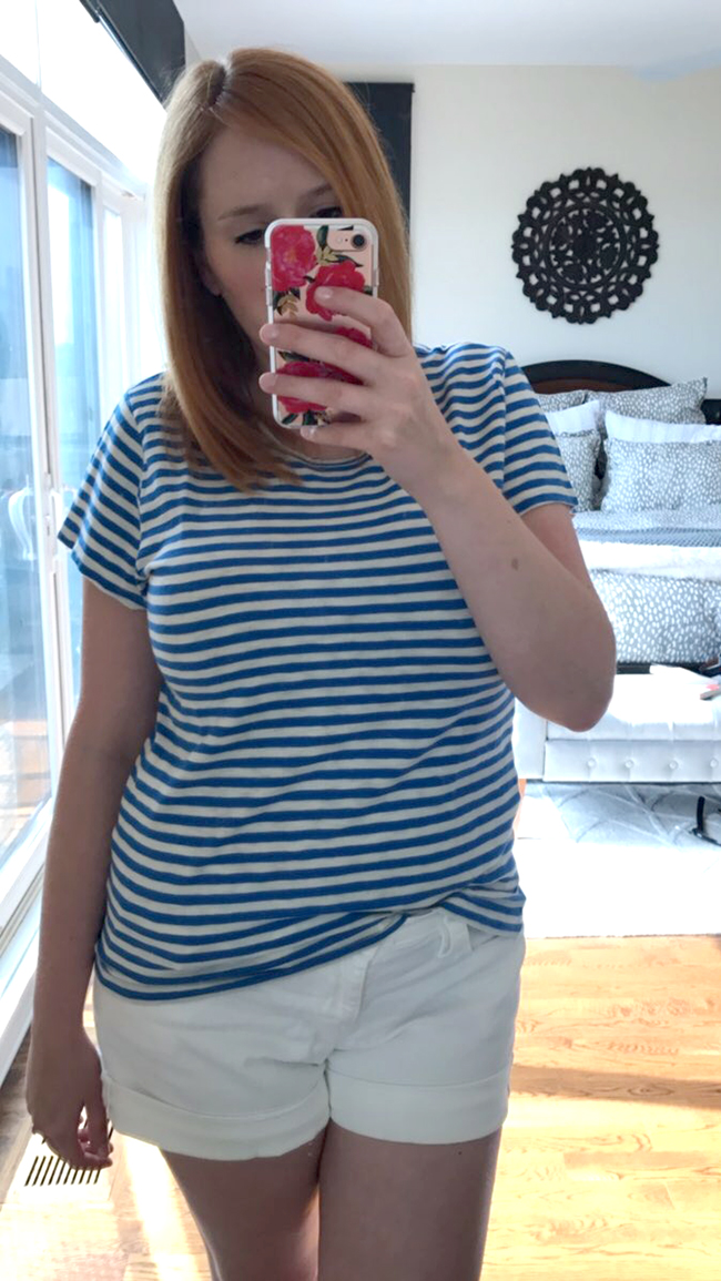 918af1b859 J. Crew Factory Striped Studio Tee - wearing an XL This tee is definitely a  keeper! I love anything with stripes, but most of the stripes in my closet  are ...