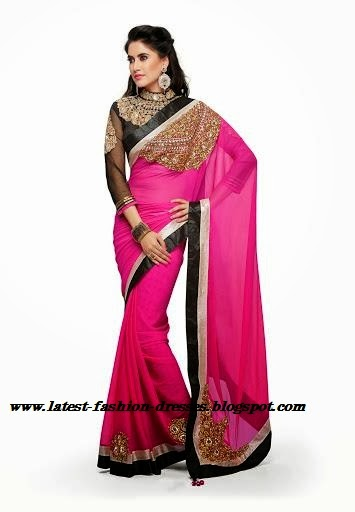 PINK SAREE WITH FULL SLEEVE BLOUSE