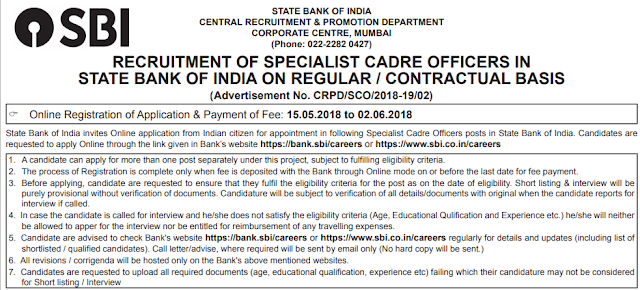 SBI Bank Specialist Cadre Officers Online Form 2018