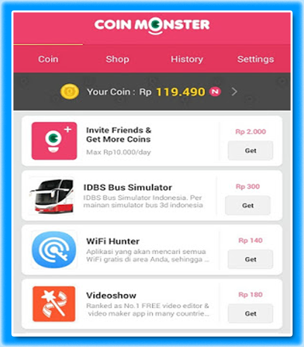 Coin Monster Aplikasi Pulsa Gratis