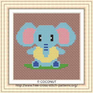 BABY ELEPHANT, BABY ANIMALS FREE AND EASY PRINTABLE CROSS STITCH PATTERN