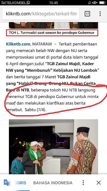 tuan guru nu di NTB disebut sowan ke gubernur NTB TGB Zainul Majdi