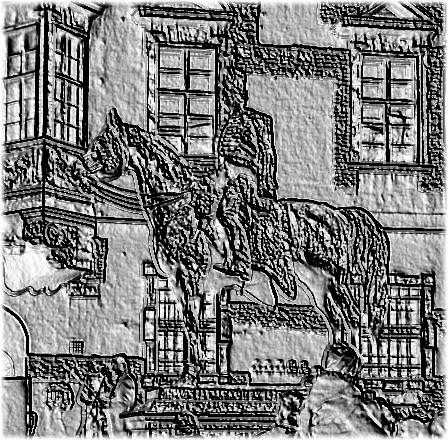 Digitálisan domborúra torzított fekete-fehér fotón Hadik András, a híres huszárezred névadó parancsnokának lovasszobra a budai vár Úri utcában.