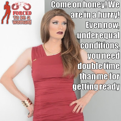 Getting ready under equal conditions Sissy TG Caption - TG Captions and more - Crossdressing and Sissy Tales and Captioned images