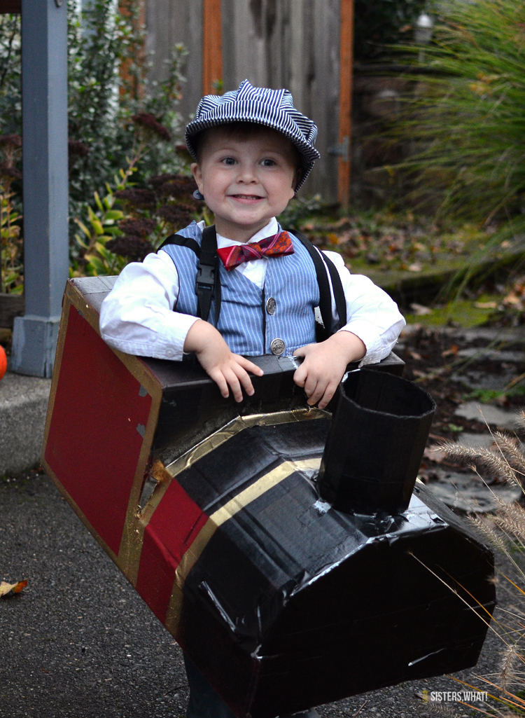 Toddler Train Conductor Halloween Costume made out of cardboard box