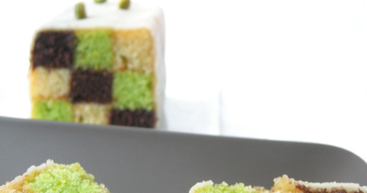 Chocolate And Pistachio Battenberg Cake