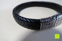 Muster: Ostan - Gotik 316L Edelstahl und Leder Armbänder für Herren - Neue Mode Schmuck Armschmuck, Schwarz
