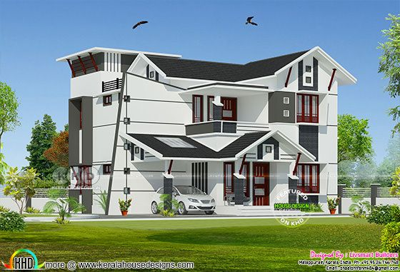 Modern house plan by Sha Alshifan M K