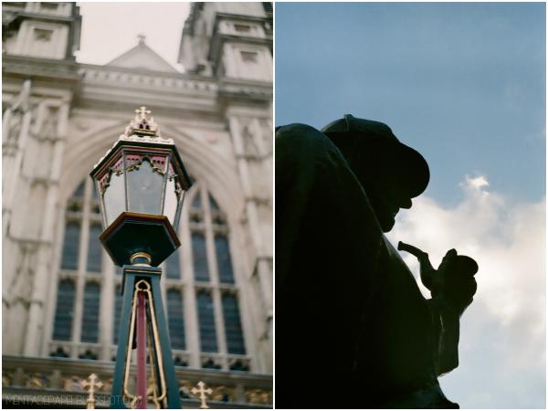 Perfil de Sherlock Holmes en Baker Street, London.