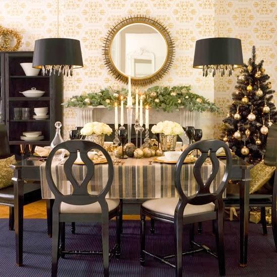 decoração natalina preta com dourado