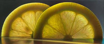 Pintura de limón cortado