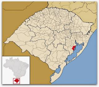 Cidade de Tapes, no mapa do Rio Grande do Sul
