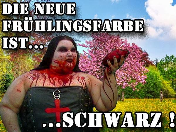 Frühlingsfarbe Schwarz - Dicke Gothic Frau - lustige Bilder mit Text