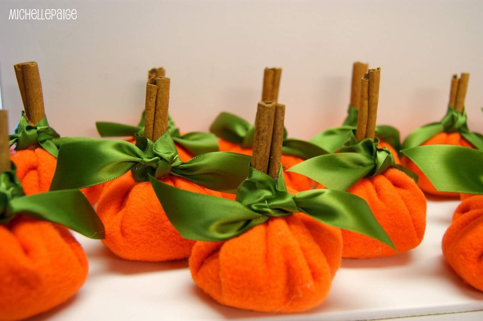 Pumpkin place cards made from Dollar Store