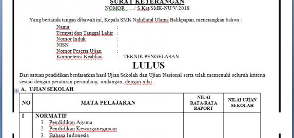 Contoh Surat Keterangan Hasil Ujian Nasional Skhun Info Ptk