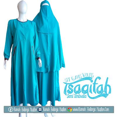 Set Gamis Syari Tsaqifah Semi Umbrella Biru Tosca