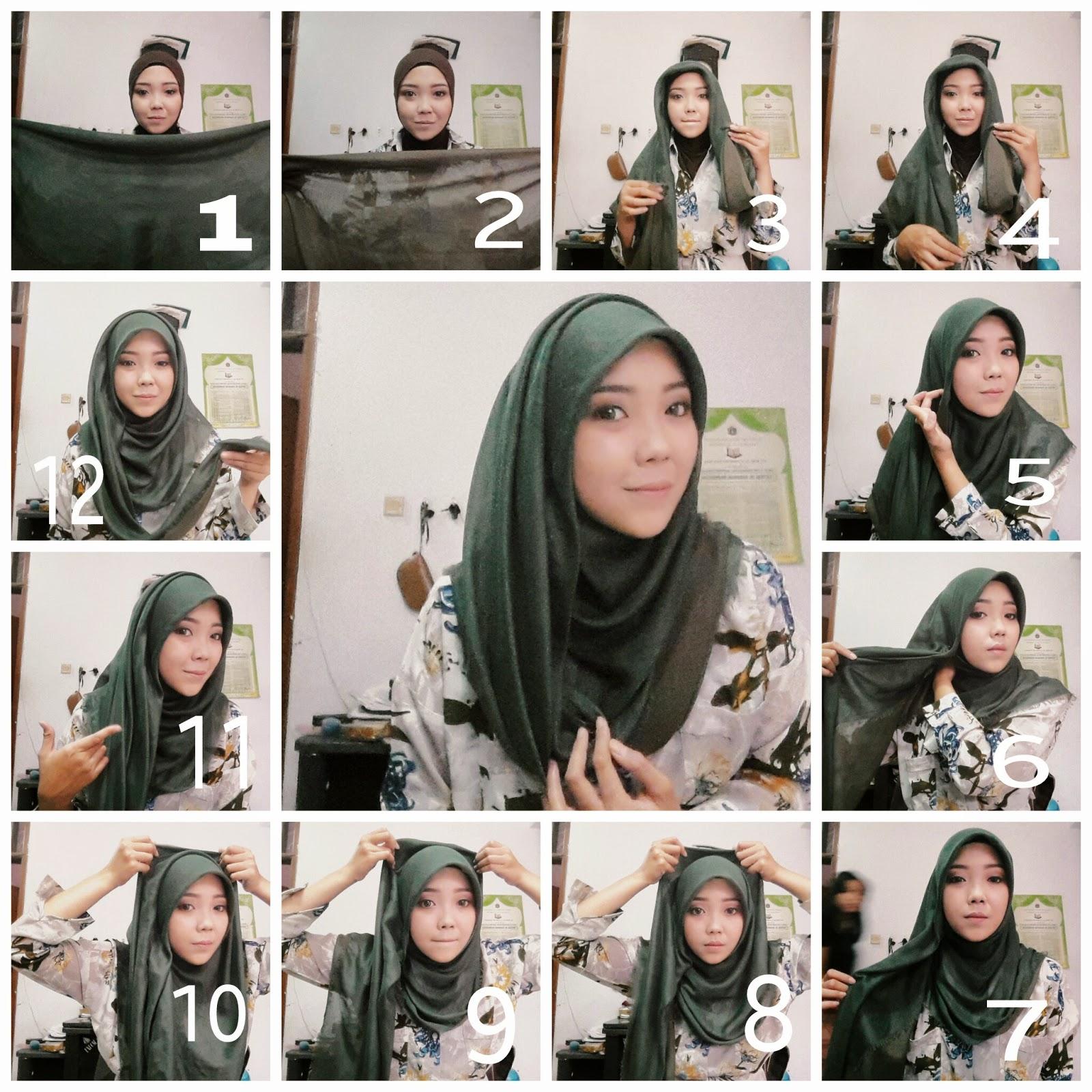Tutorial Hijab Segi Empat Kain Katun