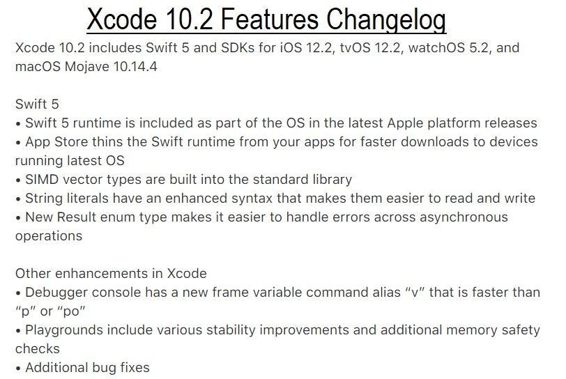 Xcode 10.2 Features Changelog