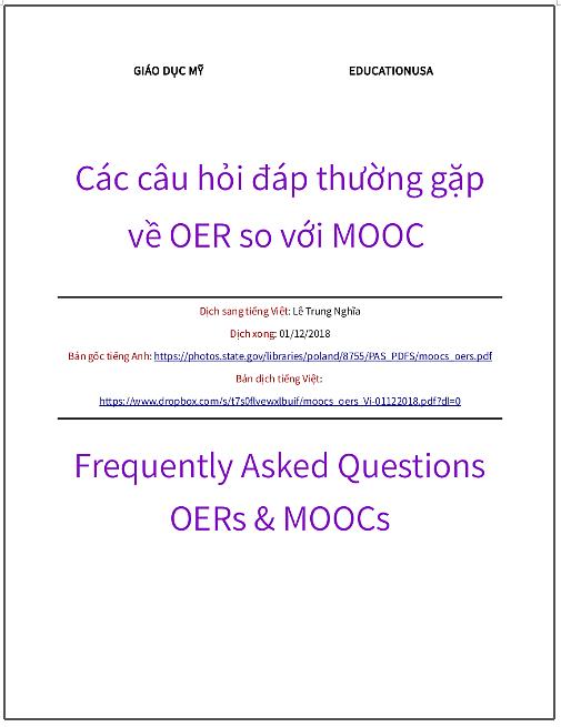 'Các câu hỏi đáp thường gặp về OER so với MOOC' - bản dịch sang tiếng Việt