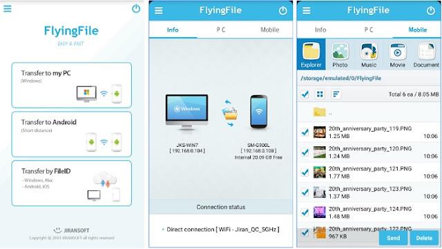 تطبيق مجاني لنقل الملفات بين الكمبيوتر والهاتف والعكس بالواي فاي للأندرويد والأيفون FlyingFile APK-iOS
