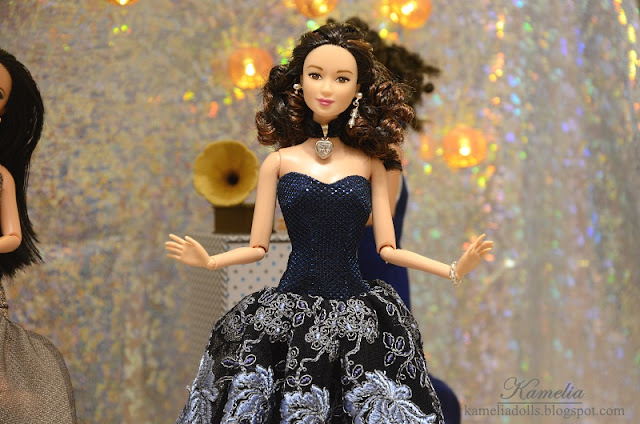 Handmade evening dress for Barbie doll.