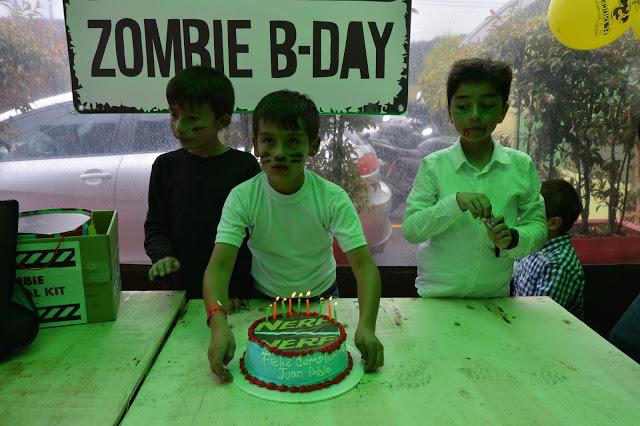 Torta nerf fiesta zombie cumpleaños campestre Bogota