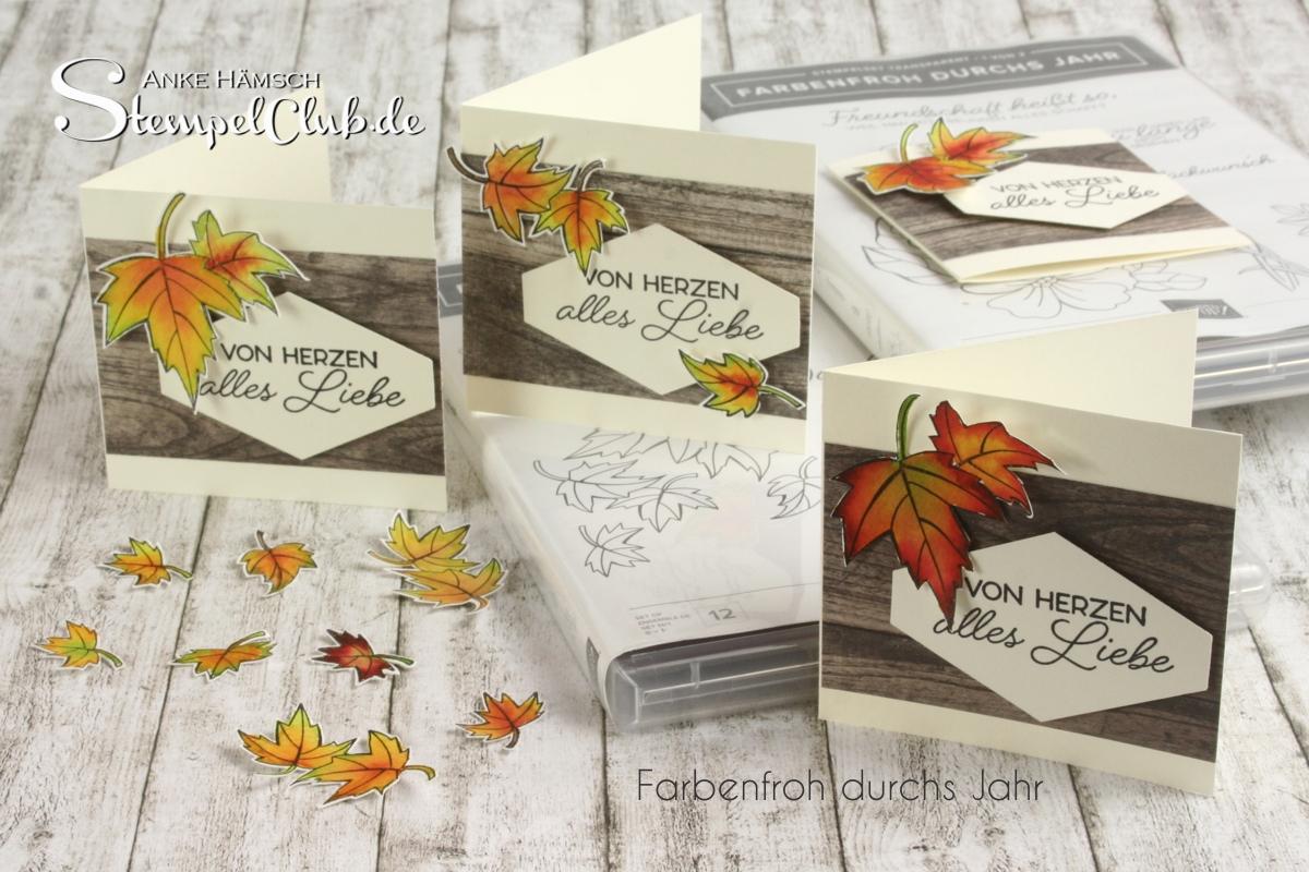 Minikarten mit dem Stempelset Farbenfroh durchs Jahr