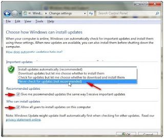Menonaktifkan (disable) automatic update di windows 7