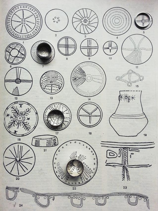"""Pierścionki z House'a pozują ma tle symboli ciał niebieskich na ceramice kultury pomorskiej w magazynie """"Problemy"""" z 1986 roku"""