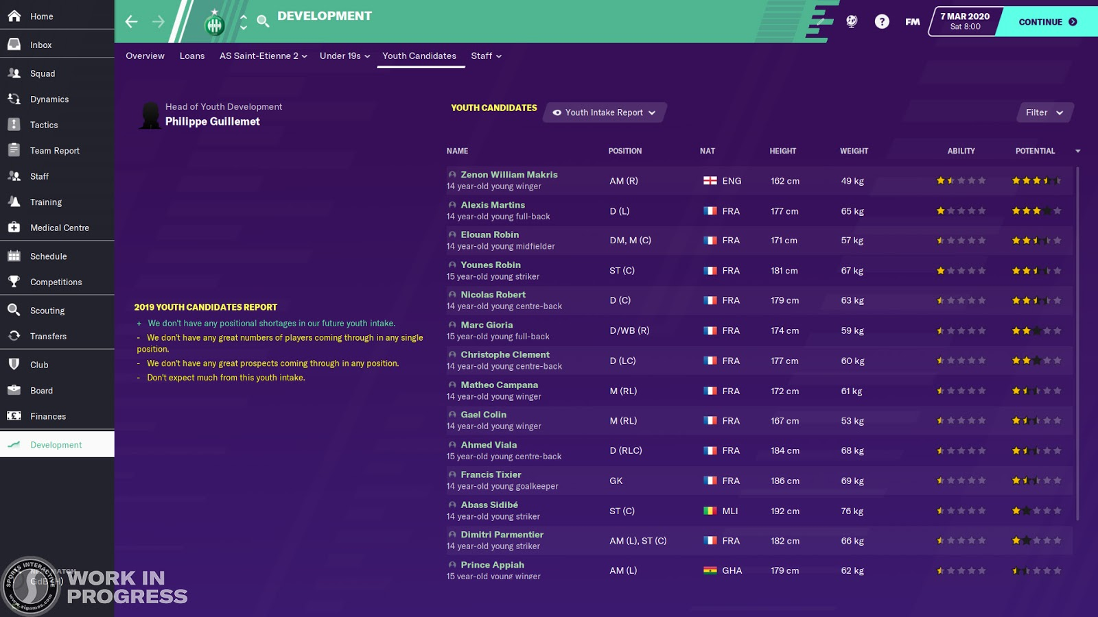 The youth candidates screen in Football Manager 2020