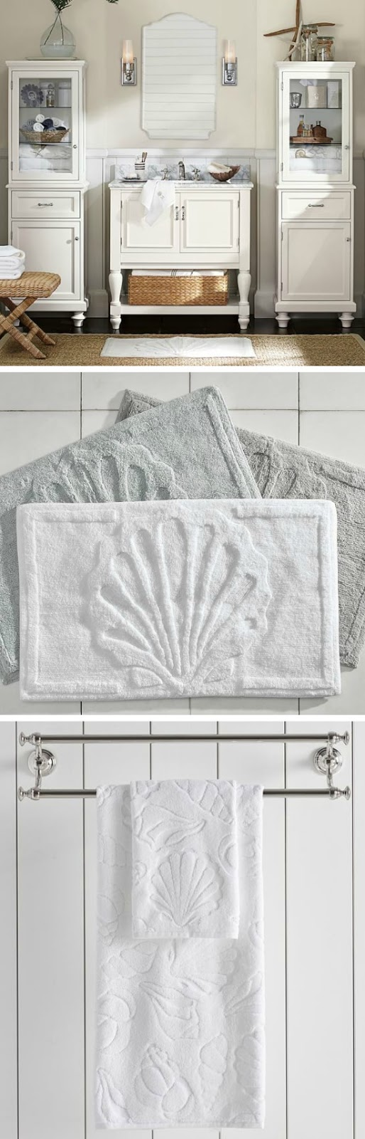Shell Bath Towels & Rug | Pottery Barn Catalog
