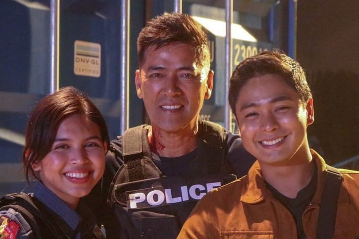 Maine Mendoza as Em, Vic Sotto as Popoy and Coco Martin as Jack in 'Jack Em Popoy'