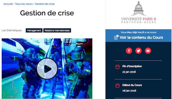 Capture d'écran de la page d'accueil du mooc gestion de crise.